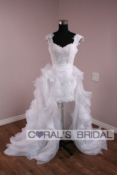 Ms340 F Custom Made 2pc Lace And Organza Wedding Gown