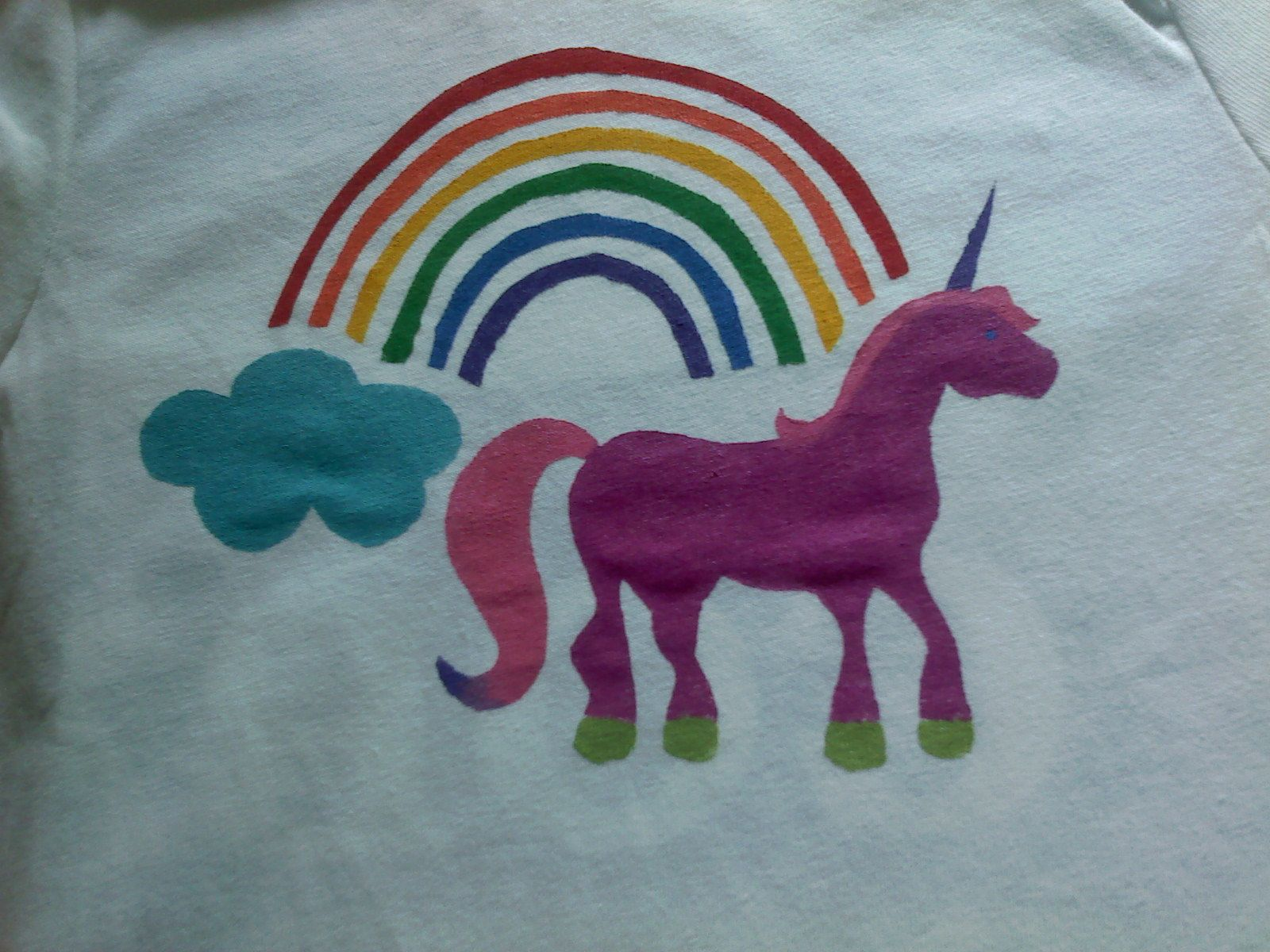 Finished Unicorn Shirt For Hannahs Birthday Party