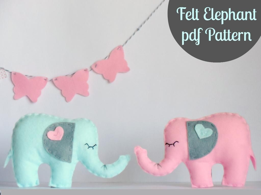 Felt Elephant - PDF - BABY MOBILE - TOY | Pinterest | Sewing ...