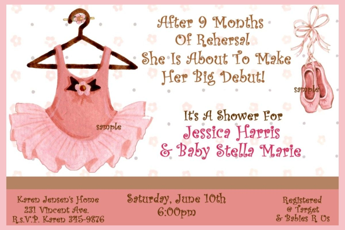 ballerina baby shower | Details about BALLET BABY SHOWER Invitations ...