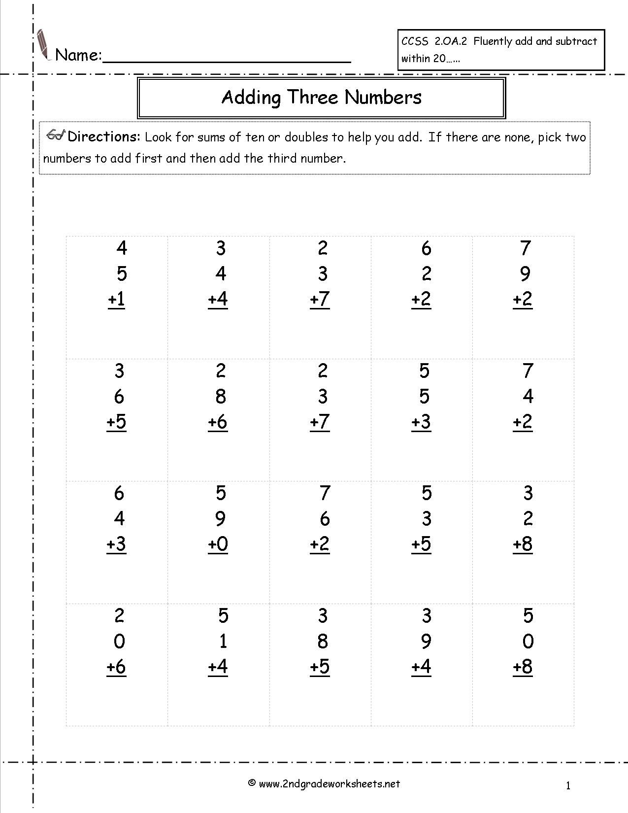 Adding Three Single Digit Addition Worksheets 2nd Grade Math