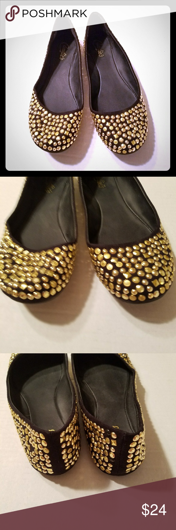 279ab4886bc5 Sz 8M Candies Camegan Gold Stud Ballet Flats Candies ballet flats Camegan  black gold studded shoes Women's sz 8 Manmade Gently worn See pics for  details, ...