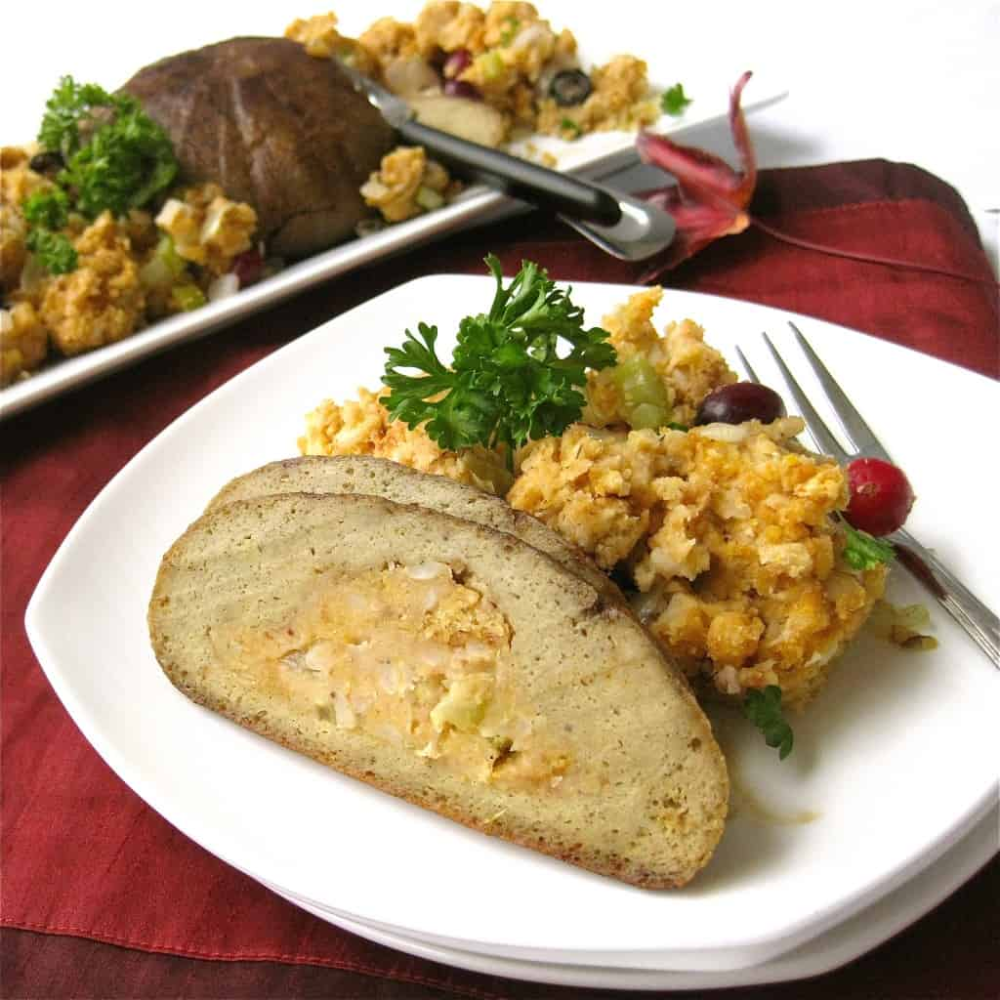 Vegan Turkey Roast With Stuffing Recipe In 2020 Lunch Meat Recipes Roasted Turkey Vegan Turkey