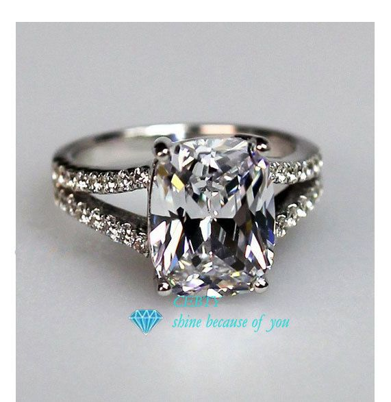 2ed2d0ce1 Stamped pt950 CEBTY Brand 2 Carat Cushion Cut Synthetic Diamond ...