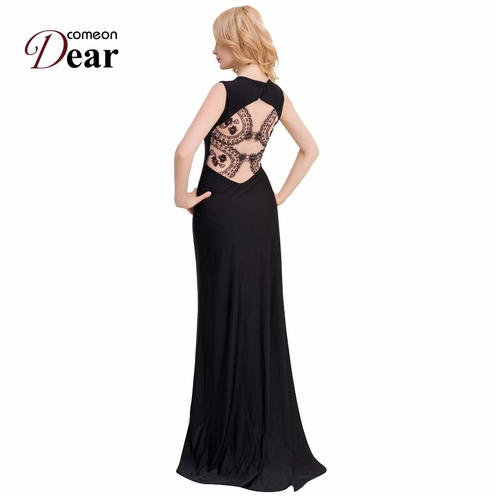Comeondear black velvet dress party evening back see through lace