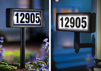 Solar Powered Home Address Sign Yard Stake From Collections Etc
