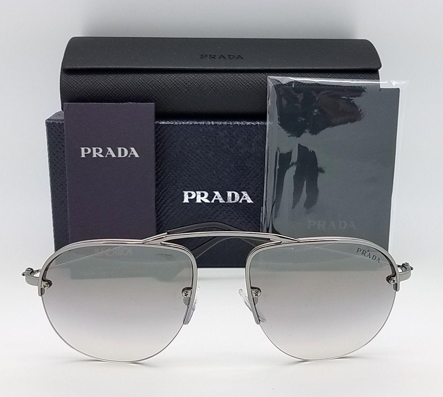 3bb2c5af4a790 New Prada sunglasses PR58OS 5AV6T2 55 Gunmetal Silver Mirror Round Teddy PR  58
