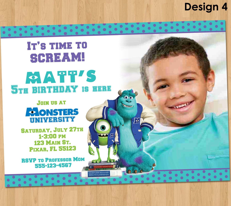 Monsters University Invitation - Monsters University Birthday Invite ...
