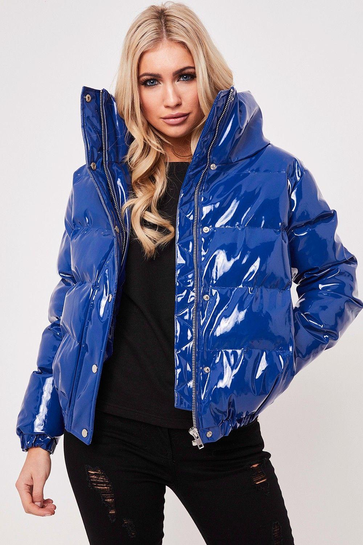 Leah Blue High Shine Puffer Jacket Puffer jacket women