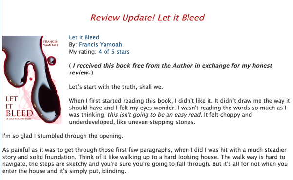 Don't Judge Read, Review: For full review go to my blog. http://dontjudgeread.blogspot.com/p/let-it-bleed.html