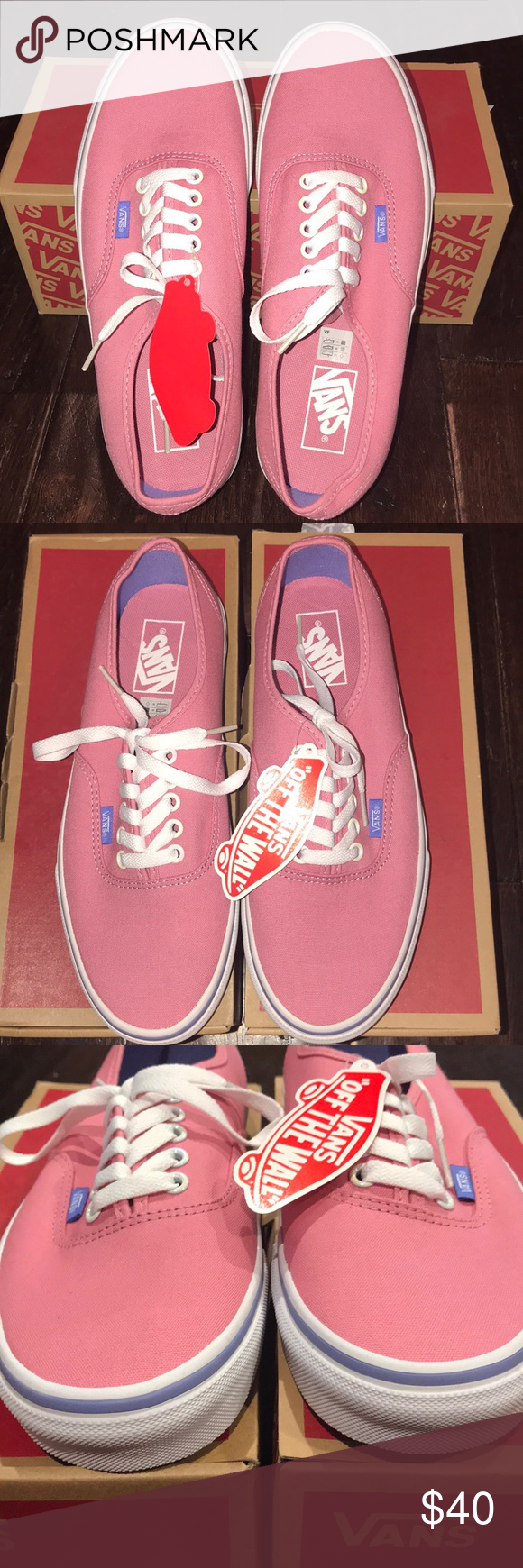 05f1b09697 Vans Authentic Shoes Wild Rode Low Top Authentic Vans. Pink blue stripe  white Size 9.5 women s. NWT. Never been worn. Will accept reasonable offer.