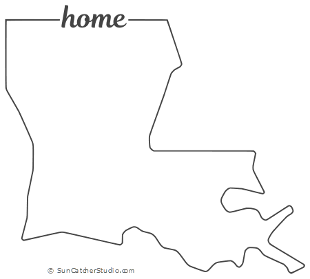 Louisiana - Map Outline, Printable State, Shape, Stencil ...