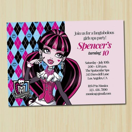 17 Best images about my invitations – Monster High Birthday Invites