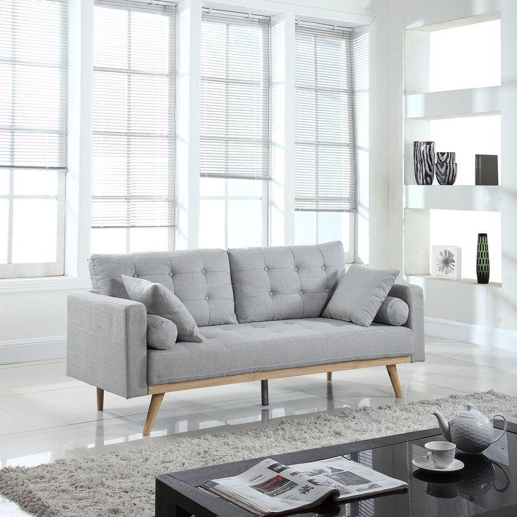 Divano Roma Furniture MidCentury Sofas, Light Grey