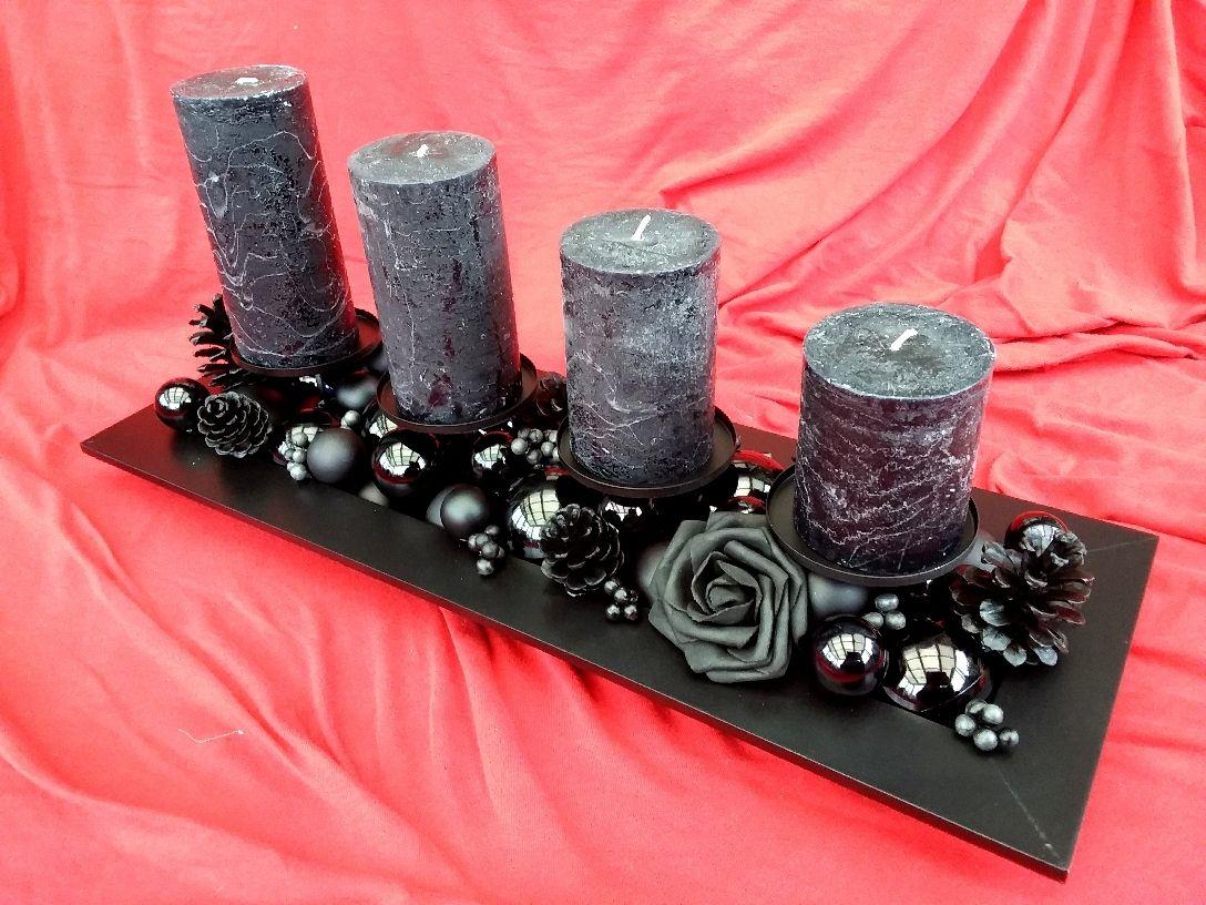gesteck adventsgesteck adventskranz schwarz gothic advent kerze rose ...