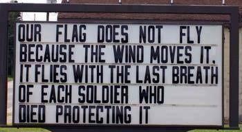 Each flag flutter is a lost veteran's last breathe!