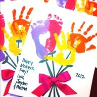 mothers day diy grandma | Mother's Day handprint footprint craft. Perfect for Grandma.
