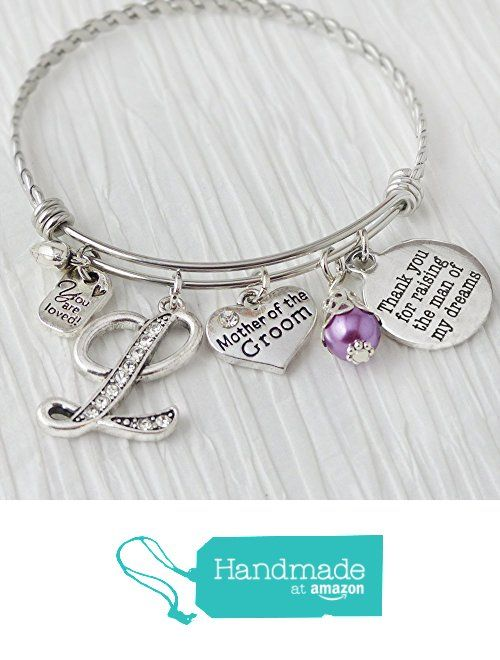 Mother of the Groom Gift, Expandable Bangle Bracelet from Daughter in Law Bride, Thank you for raising the man of my dreams, You are loved, Initial Letter Charm Bracelet, from Sugar Tree and Company https://www.amazon.com/dp/B01CC7JIF6/ref=hnd_sw_r_pi_dp_pOGQxbV9NSK9R #handmadeatamazon