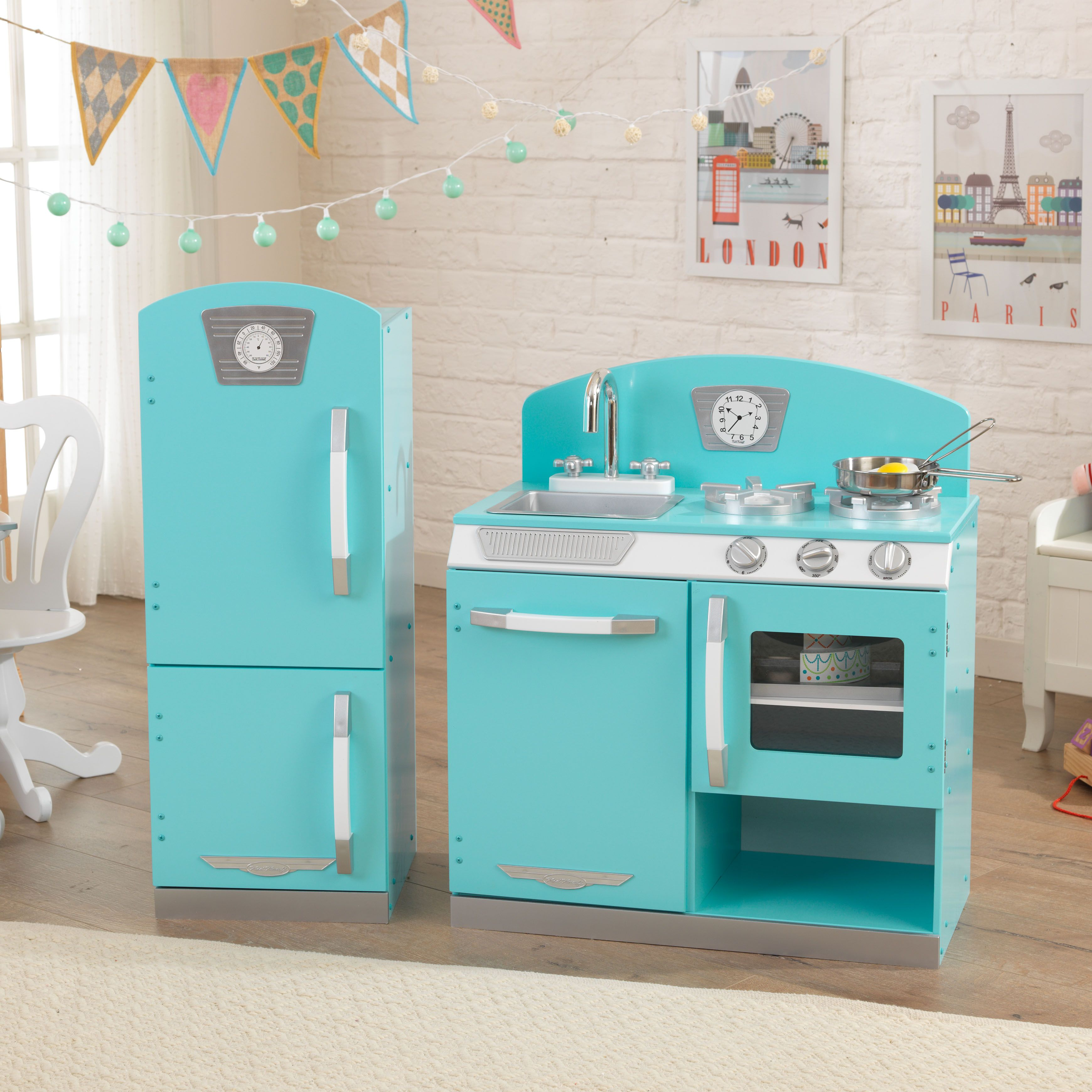 kidkraft retro kitchen and refrigerator in blue | kidkraft
