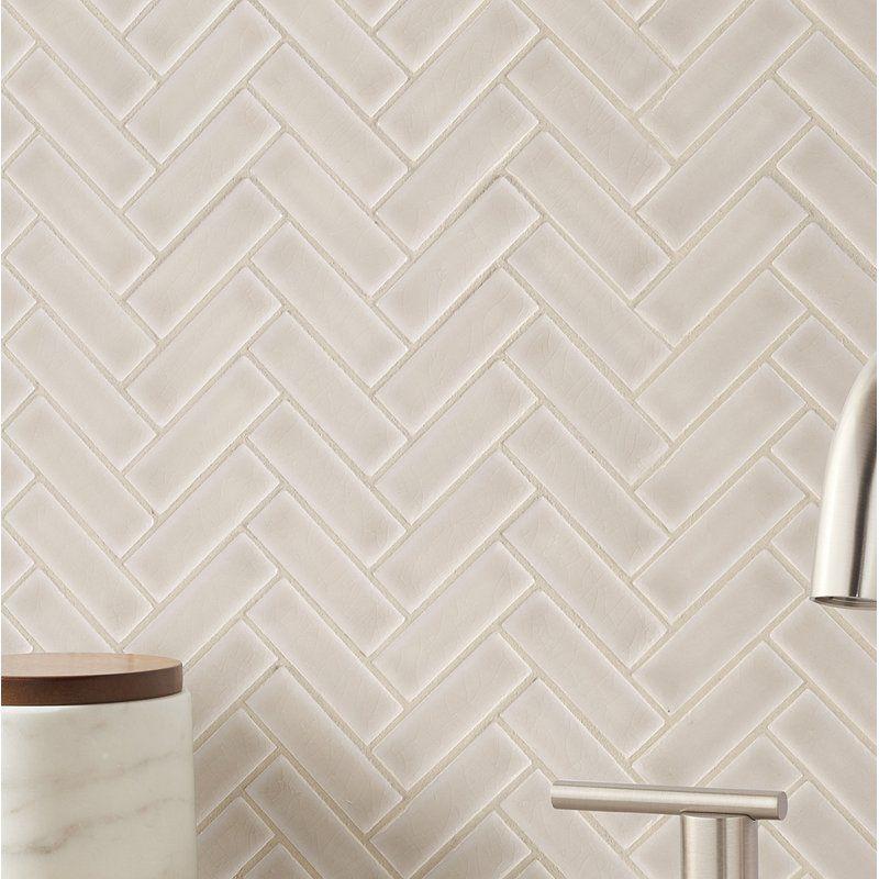 Portico Herringbone 1 X 3 Ceramic Mosaic Tile In Pearl Beige Ceramic Mosaic Tile Herringbone Backsplash Kitchen Beige Backsplash