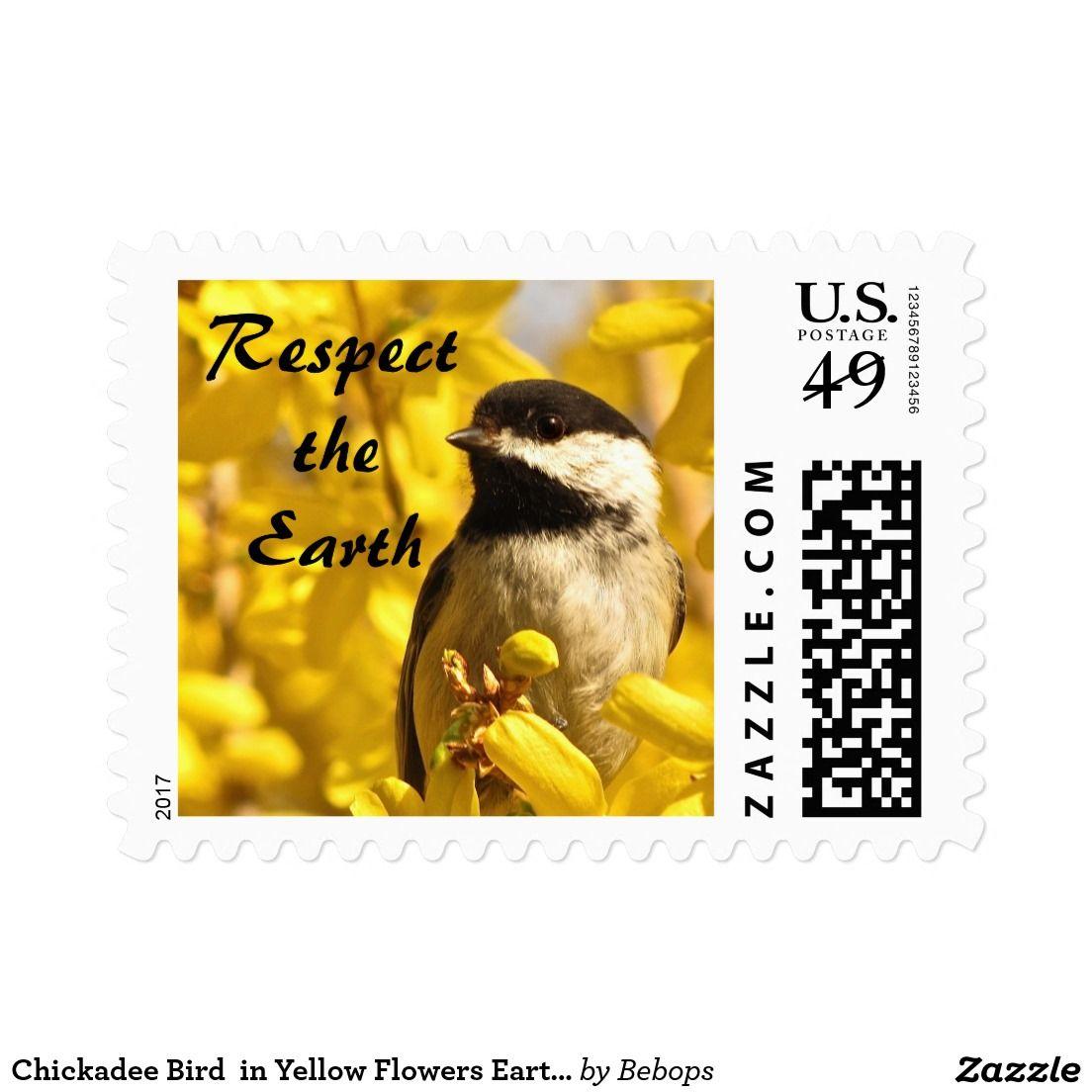 Chickadee Bird  in Yellow Flowers Earth Day Postage