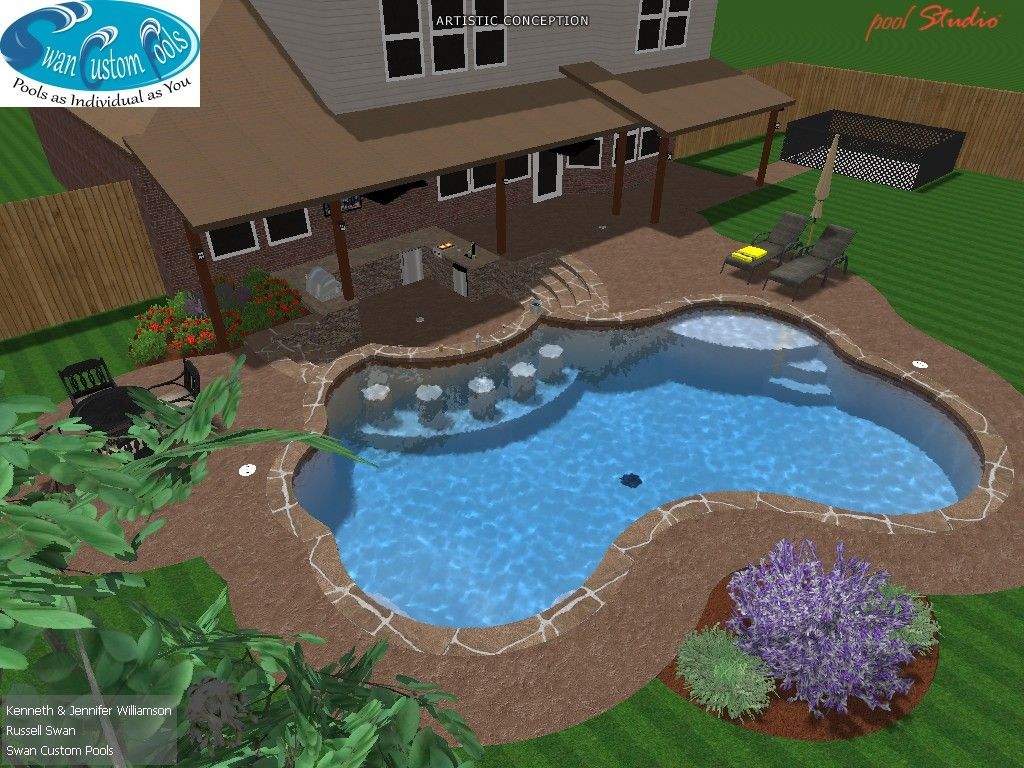 Swimming pool with swim up bar tanning ledge flagstone for Swimming pool layouts and designs