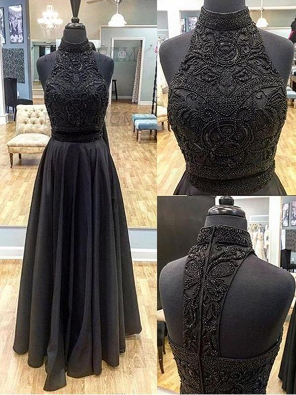 71f75f4de0d Two Piece Prom Dress A line Beautiful Long Black Cheap Prom Dress   VB1316