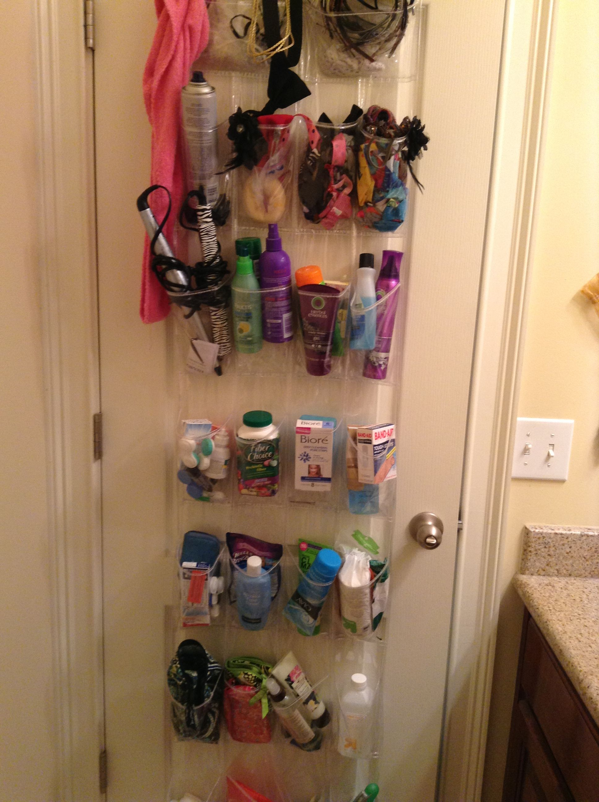 Small Bathroom Solution Hang A Shoe Organizer Over The Door And Use It For Toiletries This