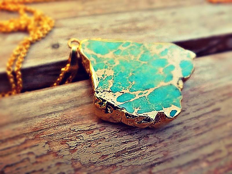 SETI - Ozean Jaspis Unikat Kette Collier grün gold von Kleines Karma - Natur & Trend Schmuck, Ketten & Colliers, Uhren, Accessoires und Geschenke aus Berlin auf DaWanda.com