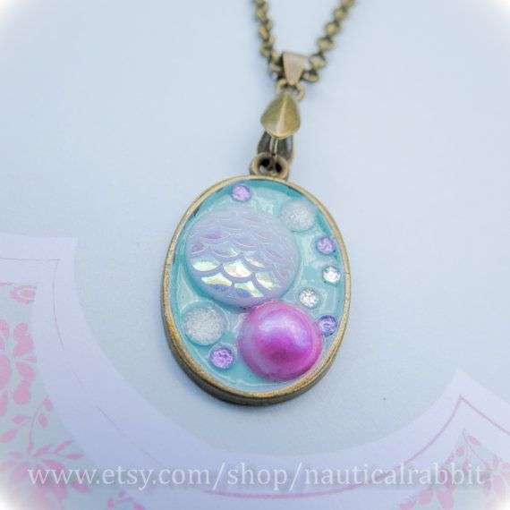 Pearlescent Marine Pendent by NauticalRabbit on Etsy