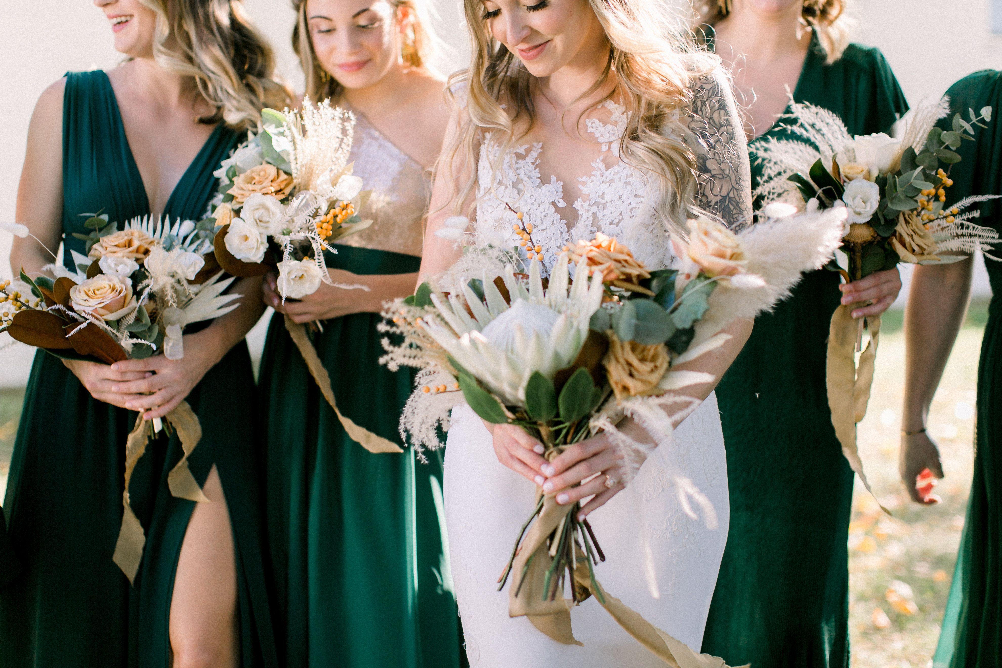 Susie Herwig Photography Lace wedding dress Hunter green