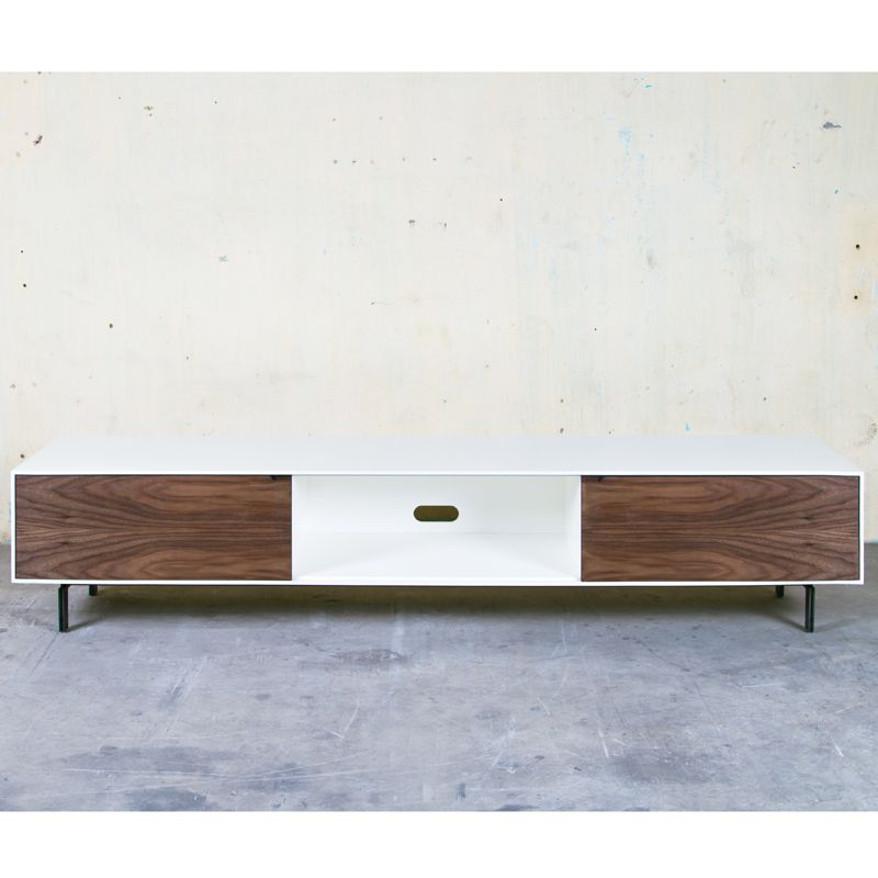 "j&m furniture 74"" contemporary tv stand in white lacquer & walnut"