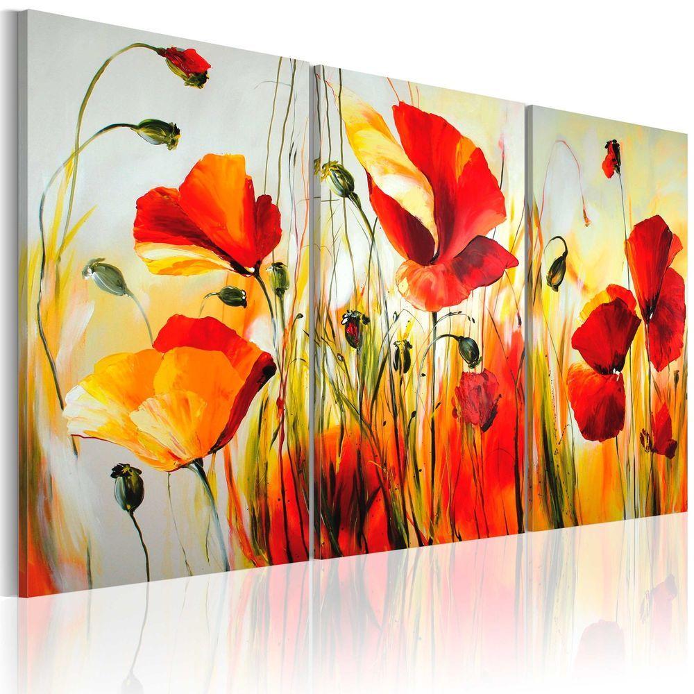 100 Handgemalt Gemalde Bilder Leinwand 3 Teile Blumen 120x80 22035 Mk Ebay Mohn Malerei Bilder Leinwand Mohnblumen Kunst