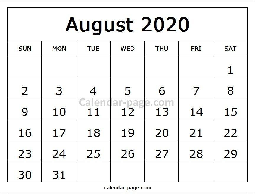 Free Printable August Calendar 2020 Calendario Para Imprimir