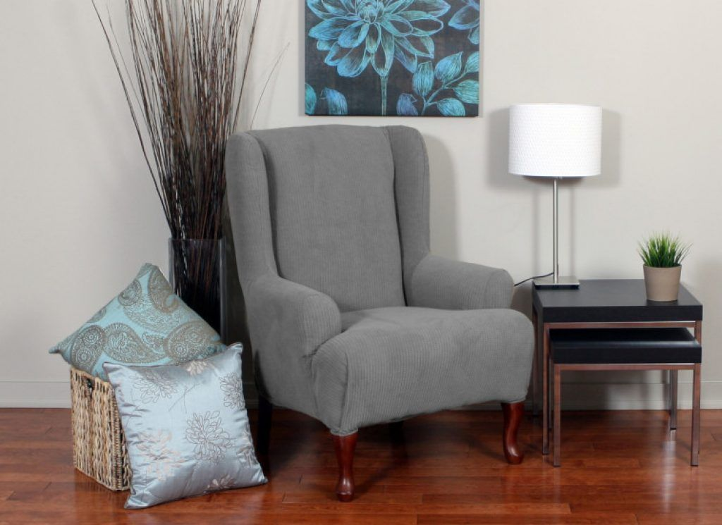 Awesome modern gray velvet wing chair slipcover mixed