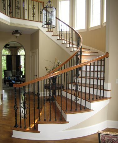Best Oak And Wrought Iron Custom Staircase Circular Stairs By 640 x 480