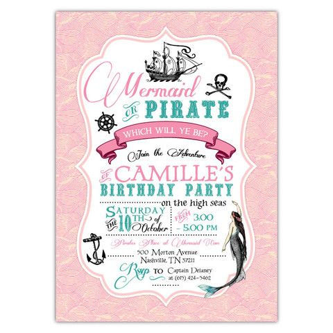 Mermaid pirate invitation wording google search mermaidunder mermaid pirate invitation wording google search stopboris Image collections