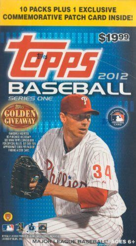 """2012 Topps Baseball Series #1 Unopened Blaster Box with 10 Packs of 8 Cards Plus One Commemorative Patch Card . $19.99. This is a 2012 Topps Series #1 Baseball Unopened """"Blaster"""" Box that contains 10 packs with 8 cards per for a total of 80 cards plus a Bonus Commemorative Patch Card! Chance at a ton of great insert cards including Golden Greats, 1987 minis, Golden Moments, Classic Walk-Offs, Golden Futures, Gold Standard, Timeless Talents and more!  Potential commemorative p..."""