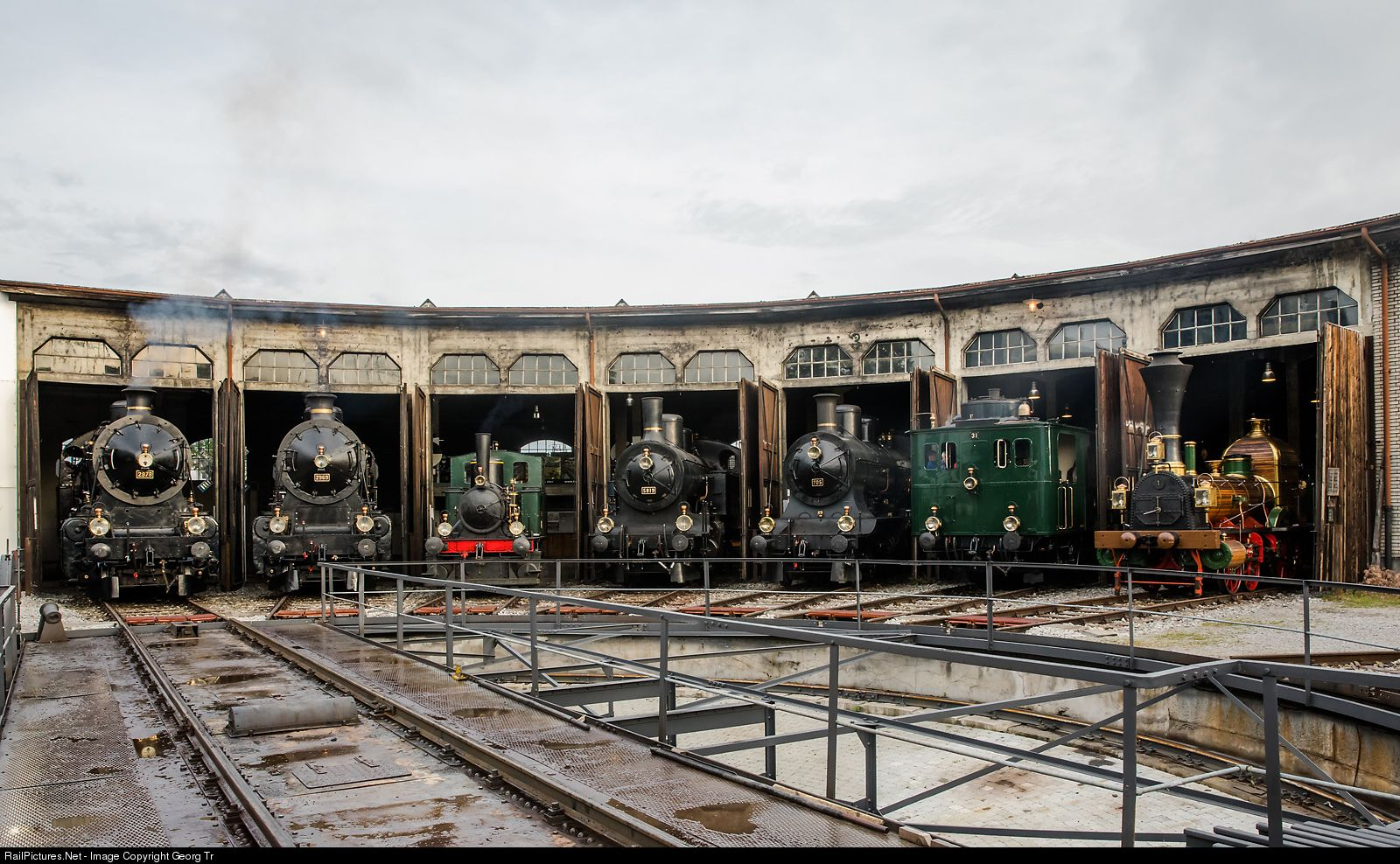 2978, 2969, 1, 5819, 705, 31, 1 SBB Historic C 5/6, E 2/2, Eb 3/5, A 3/5,  CZm 1/2, D 1/3 at Brugg (AG), Switzerland by G…   Locomotives and  Turntables.