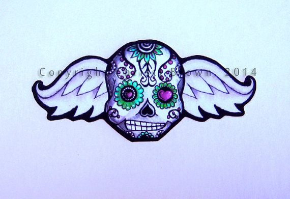 Sugar skull angel baby car window sticker vinyl by theelfinforest