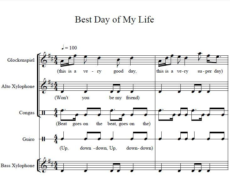 Best day of my life orff arrangements elementary music for Best piano house tracks