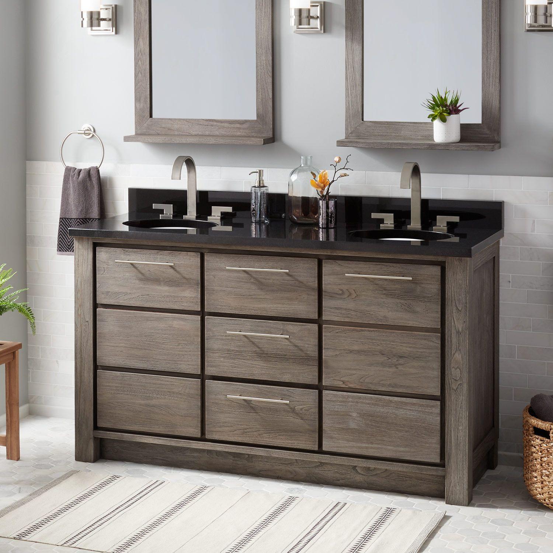 60 Venica Teak Double Vanity For Undermount Sinks In Gray Wash