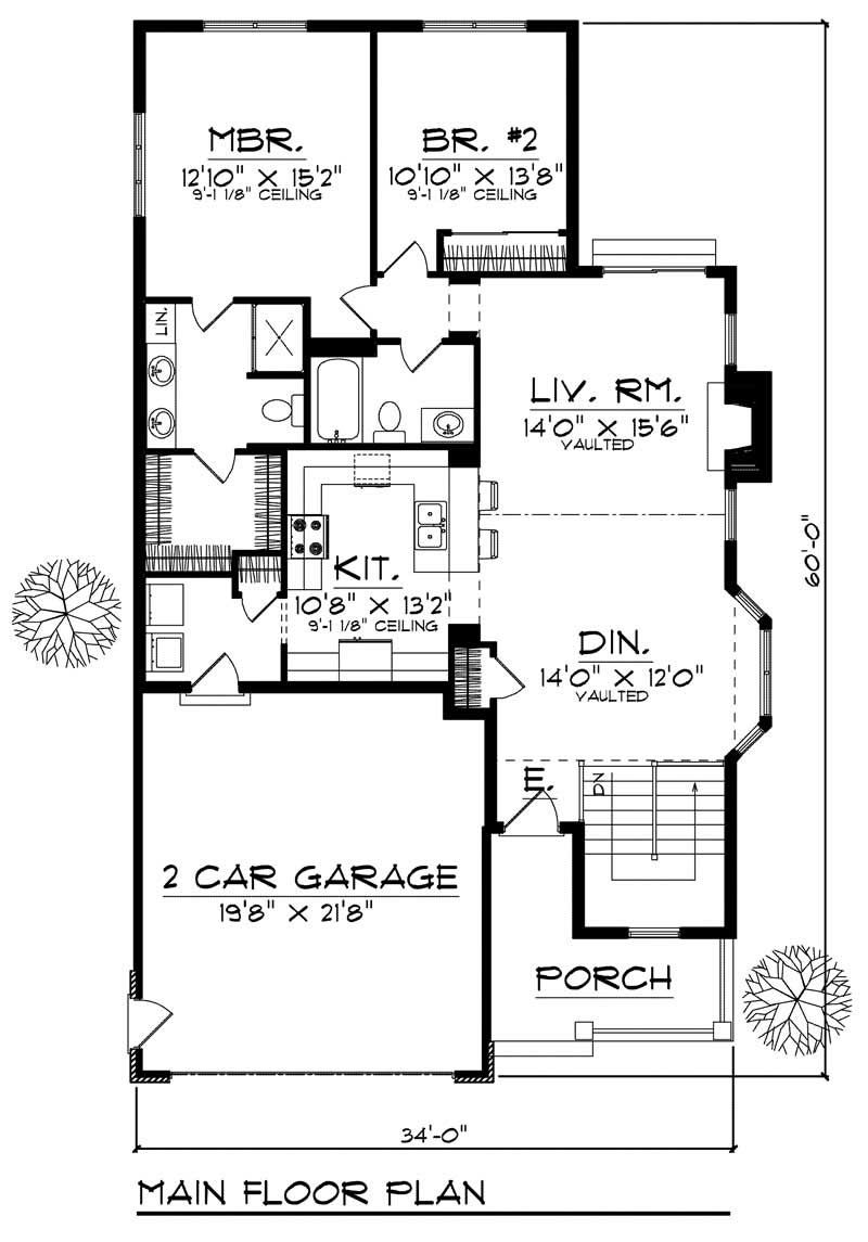 Bungalow Small Home With 2 Bdrms 1346 Sq Ft Floor Plan 101 1521 Floor Plans House Plans Family House Plans