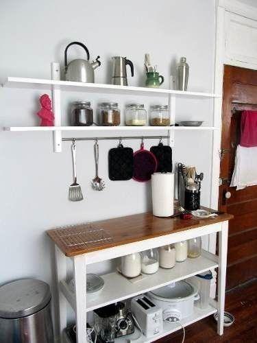 Combo mesa auxiliar de cocina estante c barral for Mesa auxiliar para cocina