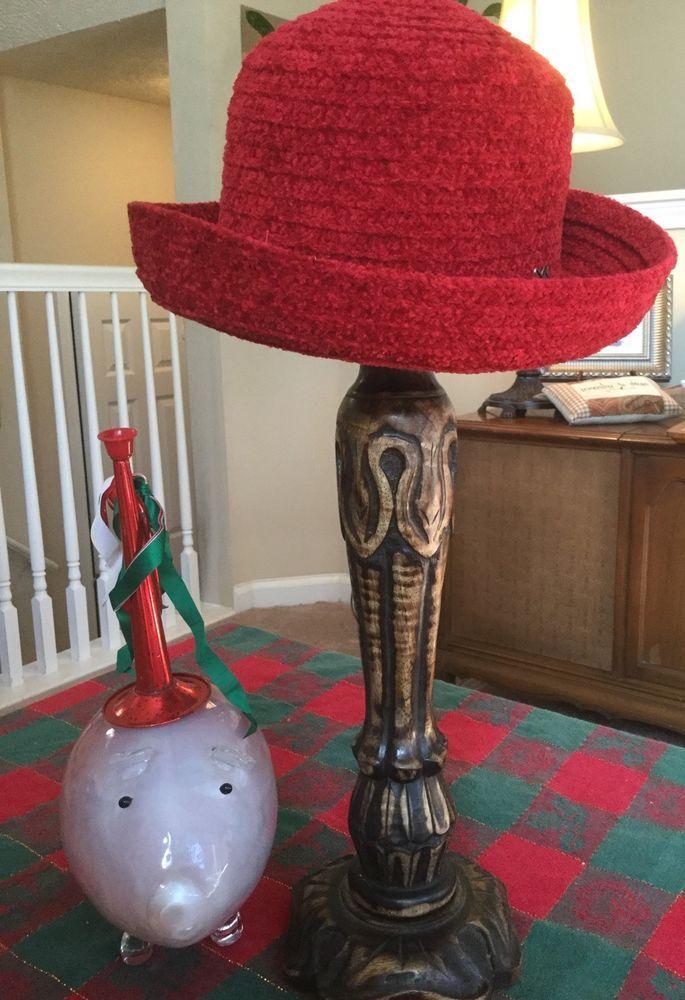 Betmar #627 Red Bucket Cloche Rolled Brim Chenille Hat #Betmar #Bucket