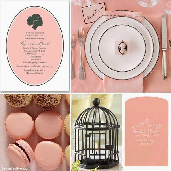 vintage bridal shower in pink with silhouettes