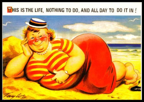 Special selection Bamforth Saucy comic postcard sun, sea, and life on muffins
