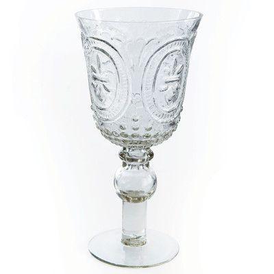 Rosalind Wheeler Engleside Footed Fleur de Lis Wine Glass (Set of 4)
