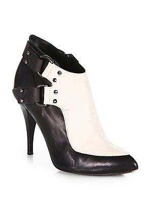 McQ Alexander McQueen D Ring Bicolor Leather Ankle Boots