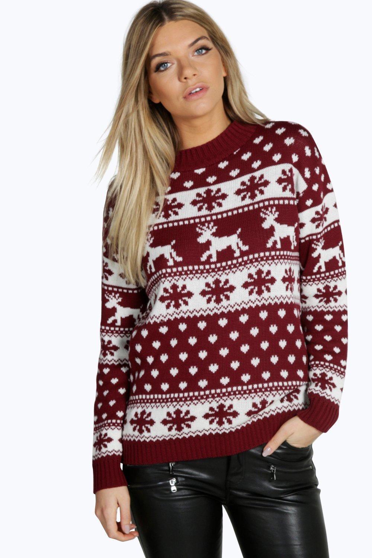 Reindeer Snowflake Christmas Sweater Boohoo Womens Christmas Jumper Christmas Sweaters For Women Red Knit Sweater [ 1500 x 1000 Pixel ]